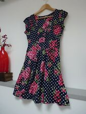 Ladies Next Blue Mix Floral Thigh Length Button Chest Summer Dress Size 8, Vgc