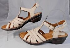 Montana Artisan Womens Sandals Sz 7.5 M Leather Strappy Slingback Wedge Beige