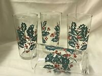 Holiday Branch And Berry Christmas Holiday Vintage Drinking Glasses Set Of 6