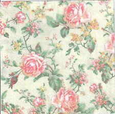 4 single paper decoupage napkins. Roses, flowers, shabby chic, background -440