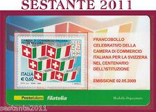 TESSERA FILATELICA CAMERA DI COMMERCIO ITALIANA PER LA SVIZZERA 2009 N12