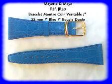 BRACELET MONTRE CUIR VÉRITABLE /* BLEU /* 22 mm REF.JR30