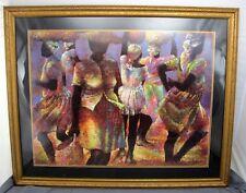 "Cousins by the Dozen Paul Goodnight 1987 Matted Framed African Art Print 42x34"""