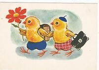 VERY RARE 2 little chicks going to school old Russian Soviet postcard by Zotov