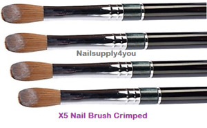 SUPER Kolinsky X5 Acrylic Nail Brush for Powder Manicure (CRIMPED) - Choose Size