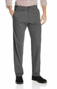 Haggar Men's In-Motion Stretch Chino Flat Front Pants, Charcoal 34Wx30L NEW