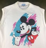 Vintage Mens M 80s Mickey Mouse Walt Disney World Graphic Sleeveless T-Shirt