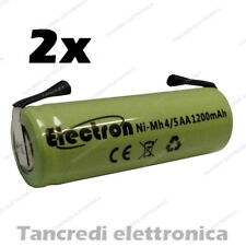 2 Batterie pile NiMh 4/5 AA stilo ricaricabile terminali a saldare tabs battery