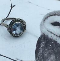 Vintage Jewellery Art Deco Style Marcasite Aquamarine Ring UK  M