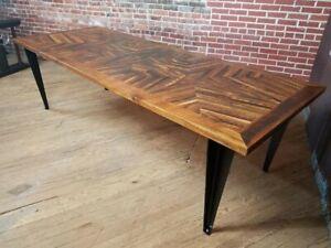 Custom Inlayed Design Reclaimed Wood Table