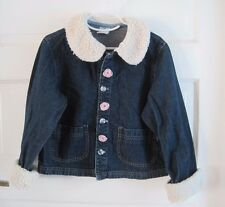 Baby Guess Girls Faux Shearling Trim Embellished Denim Blue Jean Jacket sz L 4 5