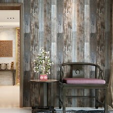 Vintatge Woods Panels Wallpaper Wall Mural Slategray/Brown Barnwood Paper Rolls