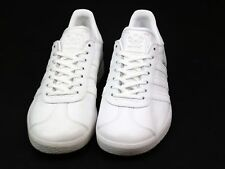 MENS ADIDAS GAZELLE WHITE LEATHER VINTAGE PUMPS SNEAKERS TRAINERS SIZE 6 FADED