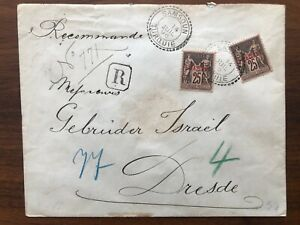 FRANCE TURKEY  OLD COVER REGISTERED SAMSOUN TO GERMANY 1896 !!