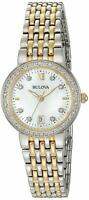 Bulova Women's Quartz Diamond Accent Markers Gold Tone 26mm Watch 98R211