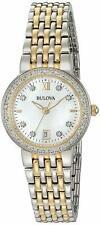 Bulova Women's Quartz Diamond Accent Markers Gold Tone 26mm Watch 98R211