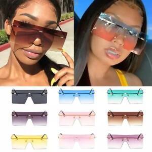 Oversized Square Rimless Sunglasses Women Men Vintage Retro Metal Luxury Shades