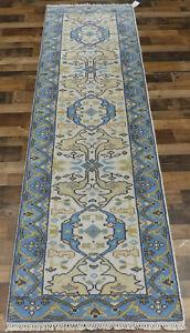 "2'6""x10' New knotted Wool Turkish Oushak oriental Modern rug runner"