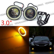"2pcs 3.0"" COB LED Projector Lens Angel Eye Ring Halo Fog Driving Light SUV Amber"