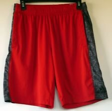 Adidas Red with Gray Side Stripes Loose Poly Climalite Basketball Shorts M
