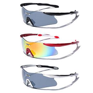 Mens Cycling Biker Sport Shield Sunglasses Ski Snowboard Goggles Black Silver