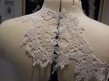 Blanco Algodón Estampado Floral Listón de Encaje Boda Vestido Hemming Por Yarda