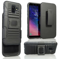 Shockproof Hybrid Stand Holster Hard Armor Case Cover For Samsung Galaxy A6 2018