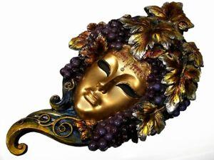 "Carnival Venetian Mask Woman in Grapes Bronze Gift Art Veronese 11 3/4"" 30 cm"