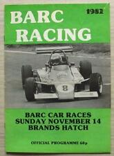 BRANDS HATCH 14 Nov 1982 BARC CAR RACES A4 Official Programme