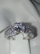 925 SILVER ENGAGEMENT RING STIMULATED DIAMOND RHODIUM PLATED SZ L USA 6 EUR 52