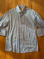 Thomas Pink Slim Fit Stretch Button Up Shirt 16.5/42cm Blue EUC French Cuff