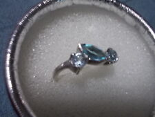 CUTE DESIGNED GENUINE FACETED BLUE TOPAZ  925 SILVER RING SIZE 7