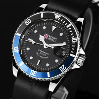 Military Royale Mens Watch Mechanical Black Face Round Leather Strap Date Army