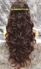 "36"" Long Wavy Layered Black Auburn Mix Full Lace Front Wig Heat Ok Hair Piece"