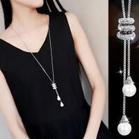 Women Faux Pearl Pendant Rhinestone Long Chain Sweater Necklace Jewelry MA