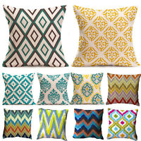 Square Geometric Linen Cotton Cushion Cover Sofa Throw Pillowcase Living Room
