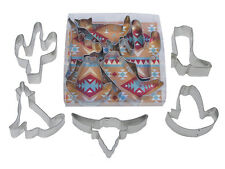 Southwest Cactus, Cowboy Boot & Hat, Longhorn, Coyote Cookie Cutter Set - 1977