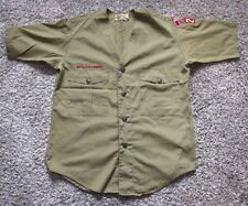Boy Scouts of America Official Shirt-No Size Label-Collarless-Green-Take a L@@K