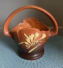 Roseville Art Pottery Tangerine Brown Freesia Basket Vase #391-8 Beautiful!