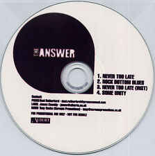 THE ANSWER Never Too Late 2005 UK 4-track promo test CD