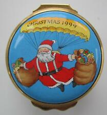 Halcyon Days England Handpainted Enamel Santa Christmas Reindeer Trinket Box