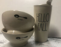 Rae Dunn Magenta Lot 2 Slurp Cereal Bowls 1 Hello Fall Ceramic Coffee Tumbler