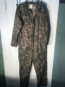 Vintage Men's Mossy Oak Camo NON insulated Large L All Cotton coveralls zip