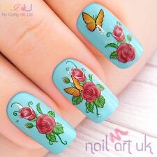 Butterfly and Flower Nail Stickers Transfers Tattoos Art 01.03.031
