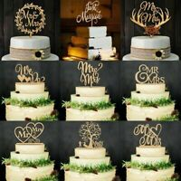 Vintage Wooden Mr&Mrs Bride and Groom Wood Cake Topper Party Wedding Favors W4H9