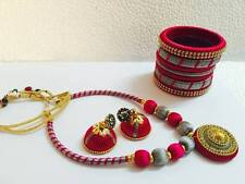 Bollywood fashion jewellery silky thready necklace and jhumki and Bangles 2-6