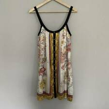 Arden B Womens Button Front Slip Dress White Floral Stretch Scoop Neck Lined XS