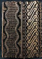 "COPPER TJAP CAP CHOP STAMP THUNDER STRIPE 6"" x 4 1/2"" INDONESIA BATIK BLOCK ART"