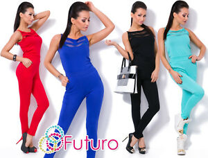 Womens Sleeveless Jumpsuit With Pockets Party Playsuit Catsuit Sizes 8-14 1079