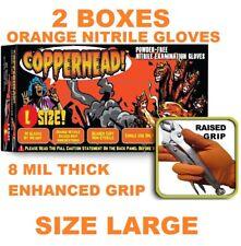 COPPERHEAD Orange Nitrile Gloves, 8 mil, Powder Free, 2 BOXES, SIZE L, LARGE